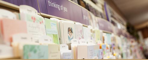 Greeting card display inside a store